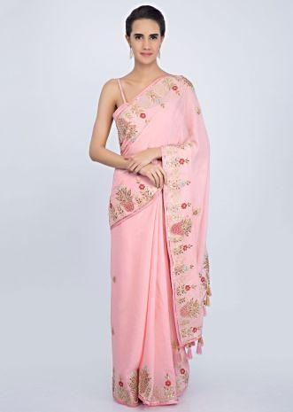 Blush pink crepe chiffon saree with floral embroidered butti and border only on Kalki