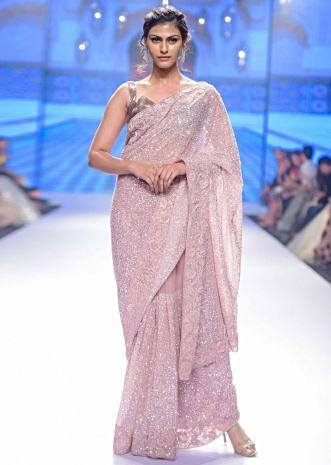 Blush pink hand sequins embroidered saree with spring work border