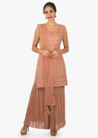 Blush red crushed georgette  kurti with sharara pant only on Kalki