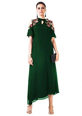 Bottle Green Asymmetrical Hand Embroidered Cold Shoulder Dress