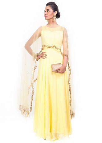 Bright Yellow Gown With Embroidered Long Cape