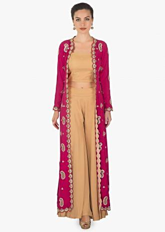 Brown crop top and palazzo  paired with a full length long jacket only on kalki