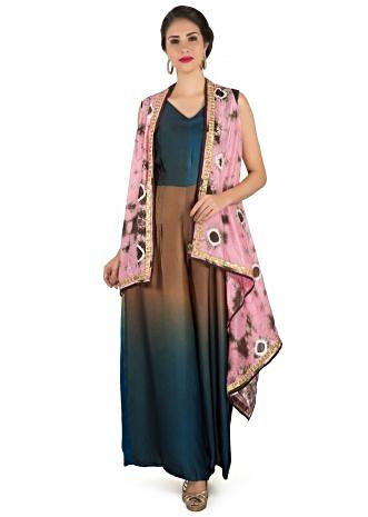 Brown and blue jumpsuit matched with printed long jacket only on Kalki