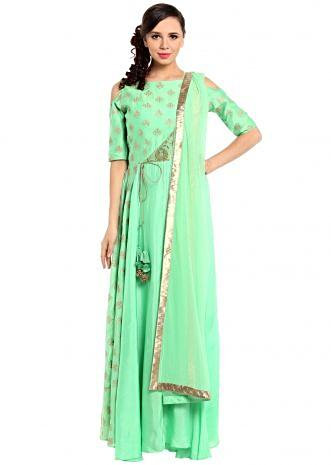 Bud green anarkali suit in brocade silk bodice only on Kalki