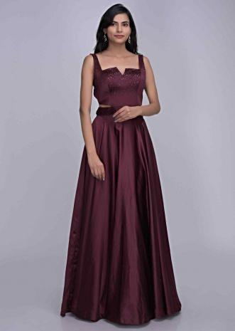 be5492a26c Burgundy colored ethnic gown in satin fabric only on Kalki ...