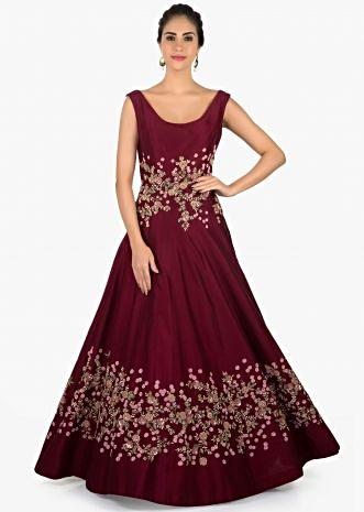 Plum raw silk gown with flower embroidery only on Kalki
