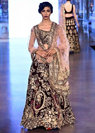 Burgundy velvet lehenga weaved in floral motif all over only on Kalki