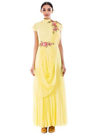 Butter Yellow Draped Gown