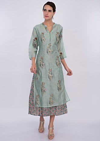 Cambridge blue cotton tunic dress with butti only on Kalki