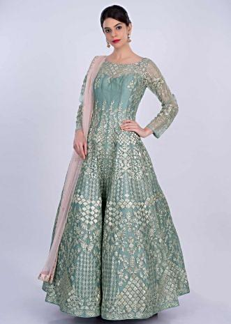 Cambridge blue organza anarkali gown with applique work only on Kalki