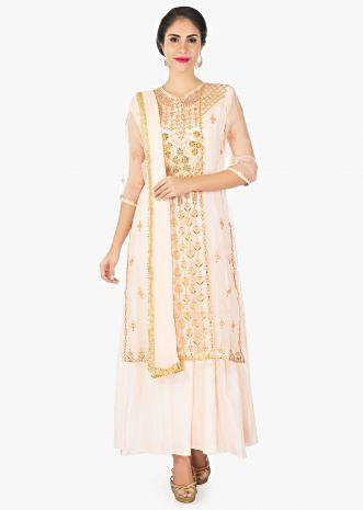 Cantaloupe peach cotton inners with organza top in gotta lace and resham