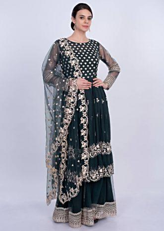 Carbon grey sharara suit set in floral embroidery and butti only on Kalki