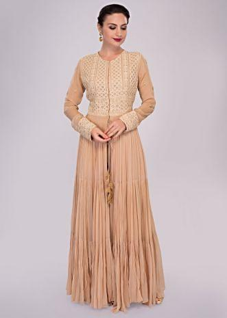 Caremel beige georgette palazzo paired with thread embroidered long top with front slit