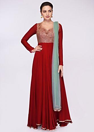 Carmine red georgette anarkali dress with embroidered bodice