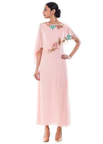 Carnation Pink Floral Embroidered Cape Tunic