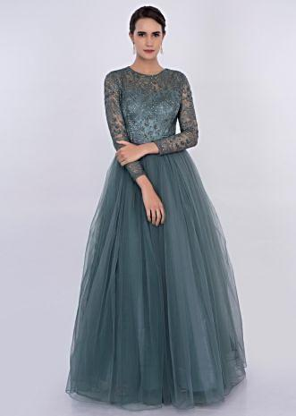 Carolina blue net gown with embroidered bodice