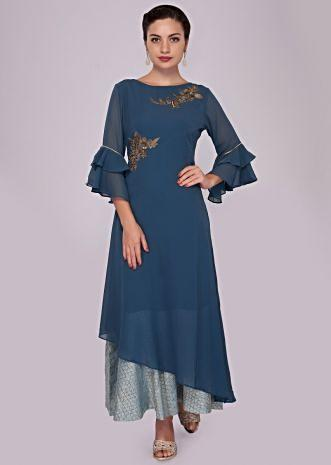Cerulean blue layered tunic dress adorn in zardosi butti