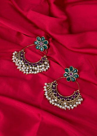 Chandbali earring with floral stud only on Kalki