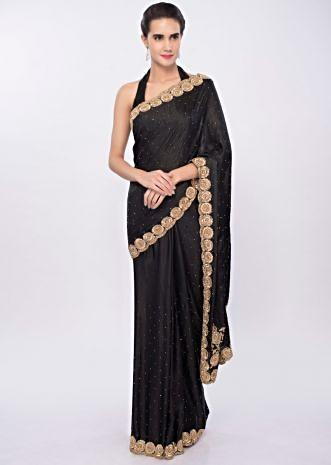 Charcoal grey satin saree with cut dana, moti and kundan embroidered scallop border only on Kalki