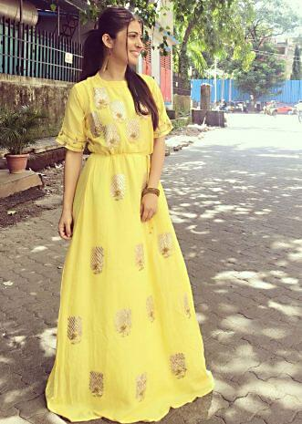 f49066f5c6b Charlie Chauhan in Kalki yellow long tunic.