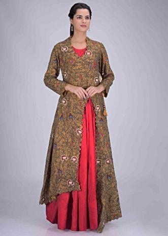 3f4f274d3d Cherry red cotton silk gown with mustard yellow embellished jacket only on  Kalki ...