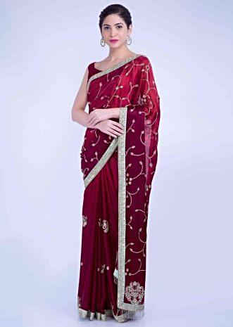 d05ab7eefa Cherry red ombre satin georgette saree with mint green raw silk blouse  piece only on Kalki
