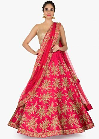 Cherry red lehenga in raw silk embellished in zari and sequin only on Kalki
