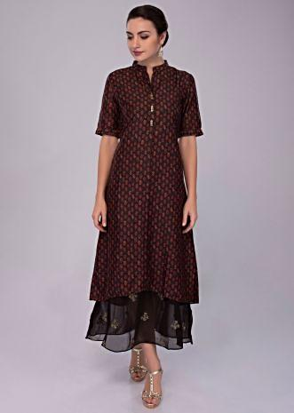 Chocolate brown cotton silk tunic dress with printed butti