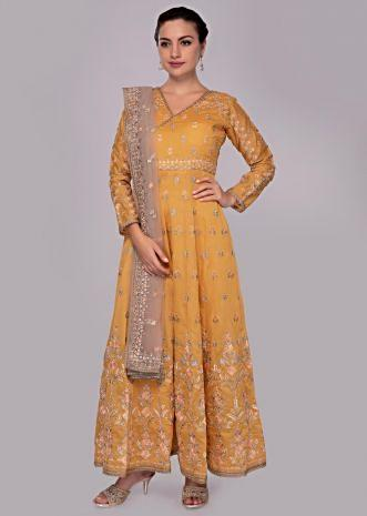 Chrome yellow anarkali dress in floral resham zari embroidery and butti