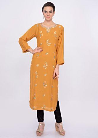 Chrome yellow cotton kurti with butti only on Kalki