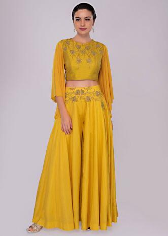 Chrome yellow palazzo with butter yellow embroidered crop top