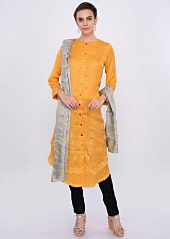 Chrome yellow satin silk kurti with multi color french knot and thread embroidery only on Kalki