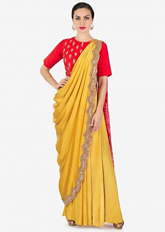 Chrome yellow and red lehenga set with pre stitched dupatta in bandhani print