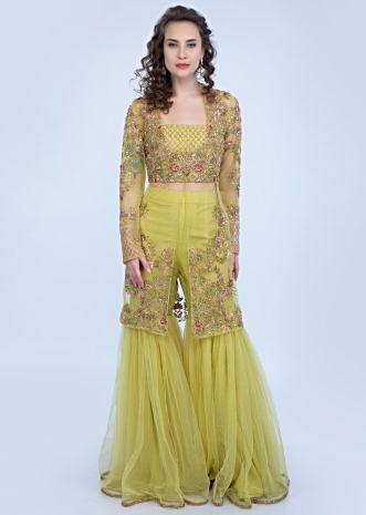 039a720c7e8c60 Citrus green crop top and sharara with heavy embroidered net jacket only on  Kalki ...
