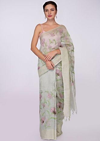 Cloud grey cotton saree in floral thread embroidery