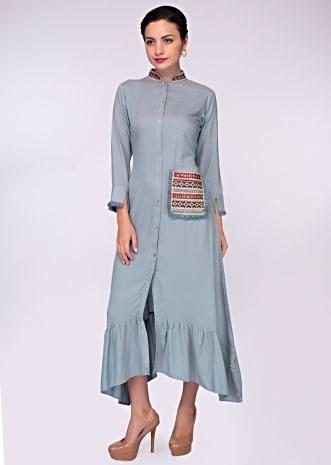 Cloud grey cotton tunic with embroidered collar and  pocket