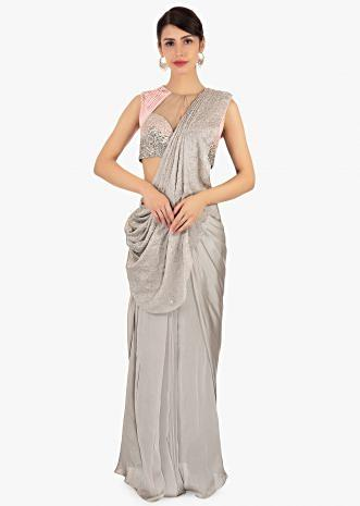 Cloud grey crepe pre stitched saree with ready pleats and pallo