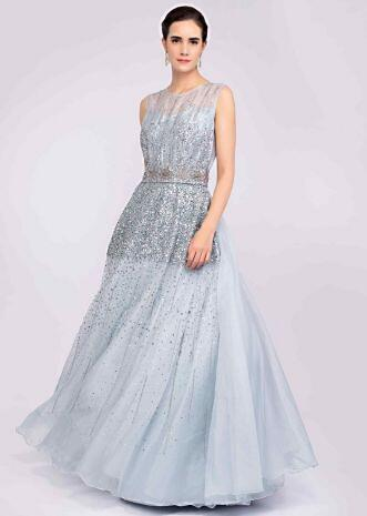 c7d3c7e620c Cloud grey organza gown embellished with sequins and cut dana workonly on  Kalki ...