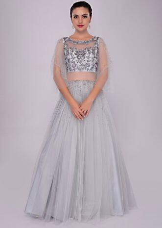 65c8ab976ecb Cloud grey voluminous gown with self floral resham embroidered bodice ...