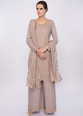 Coastal fog grey georgette suit set in resham embroidery only on Kalki