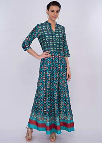 Cobalt blue patola print tunic dress only on Kalki