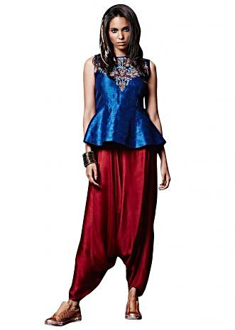 Cobalt blue peplum top with aladdin salwar only on Kalki