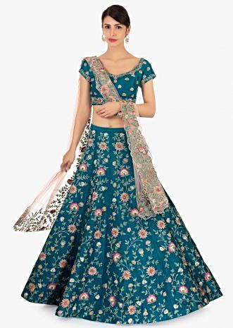 Cobalt blue raw silk lehenga set paired  with pink net dupatta