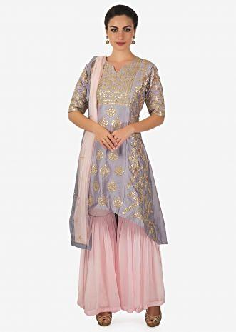 Coin grey A line sharara suit adorn in gotta patch and zari embroidery