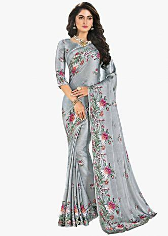 Coin grey satin saree in floral print only on Kalki