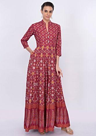 Coral cotton tunic dress in floral print only on Kalki