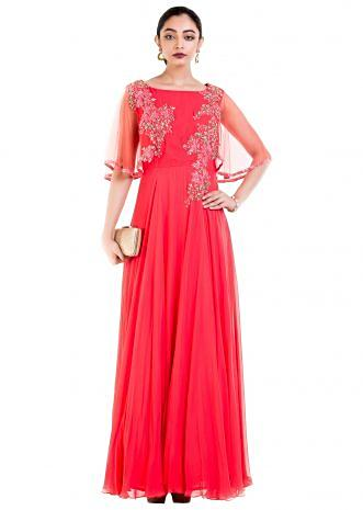 Coral Long Dress With Embroidered Half Cape
