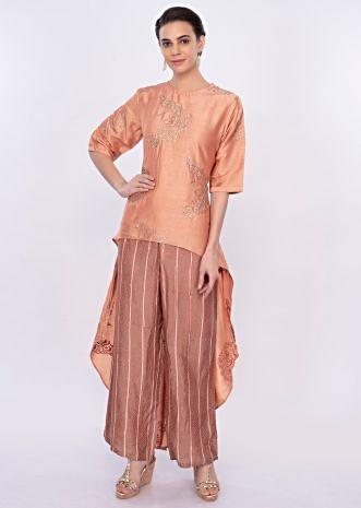 Coral peach front short back long suit with printed bottom only on Kalki