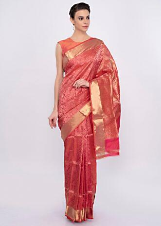 Coral pink banarasi brocade saree only on Kalki