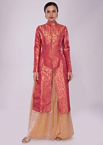 Coral red brocade suit paired with contrasting palazzo in fancy shimmer fabric